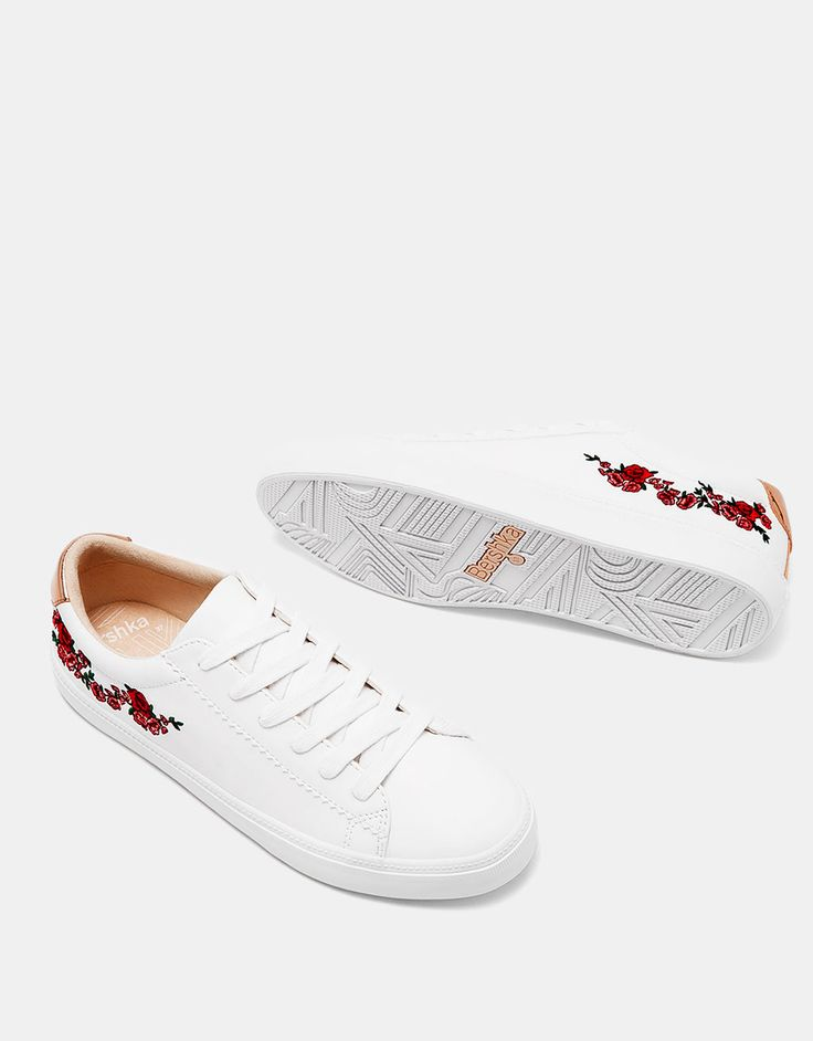 Sneakers with floral embroidery and metallic trim. Discover this and many more items in Bershka with new products every week