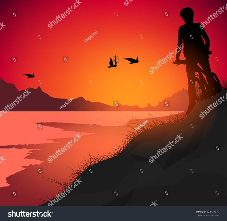 Lake scene vector silhouette people young woman cycling nature background