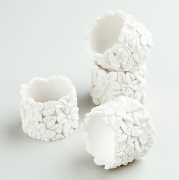 White Floral Napkin Rings contemporary-napkin-rings