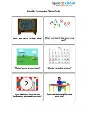 Printable Conversation Starter Cards is a Social Skill Activity for verbal Kids with Autism in elementary school. This activity helps students start a conversation. The materials needed are conversation cards, whole punch, and yarn to tie with. Found through Pinterest.