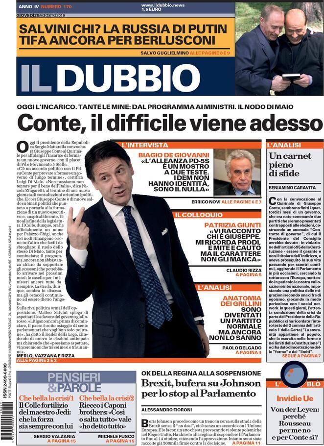 Prima Pagina Il Dubbio Giornalone Copertina Giornale Immagini