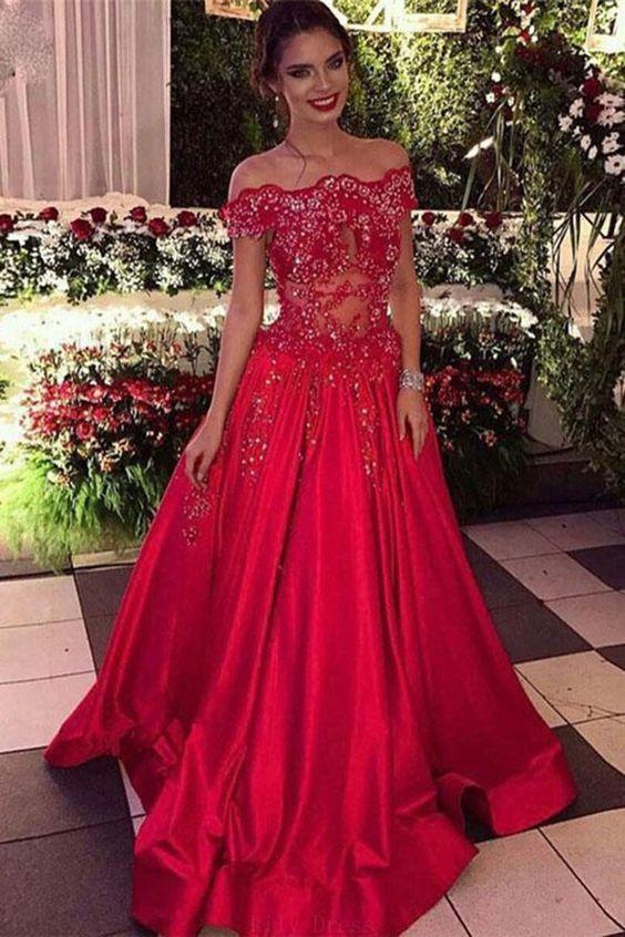 Off the Shoulder Red Prom Dress