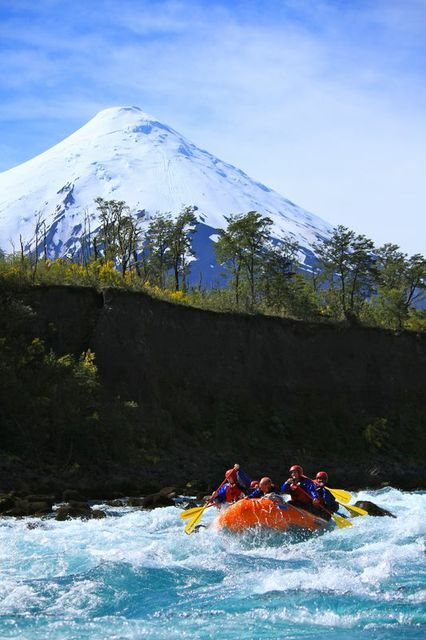Rafting in the Petrohue River 8class III), by the Osorno Volcano and its perfect volcano shape. Looks like a child designed it!