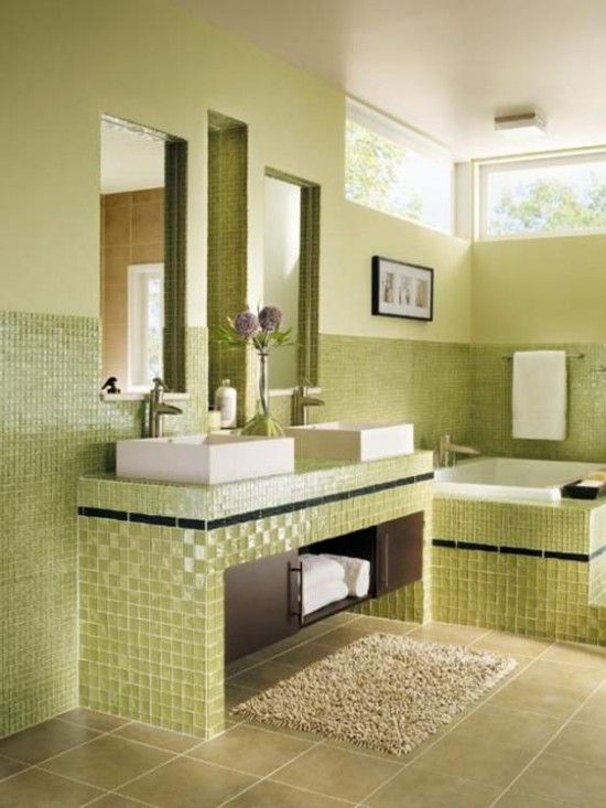 218 best Green - Bathroom.. images on Pinterest | Bathrooms decor ...