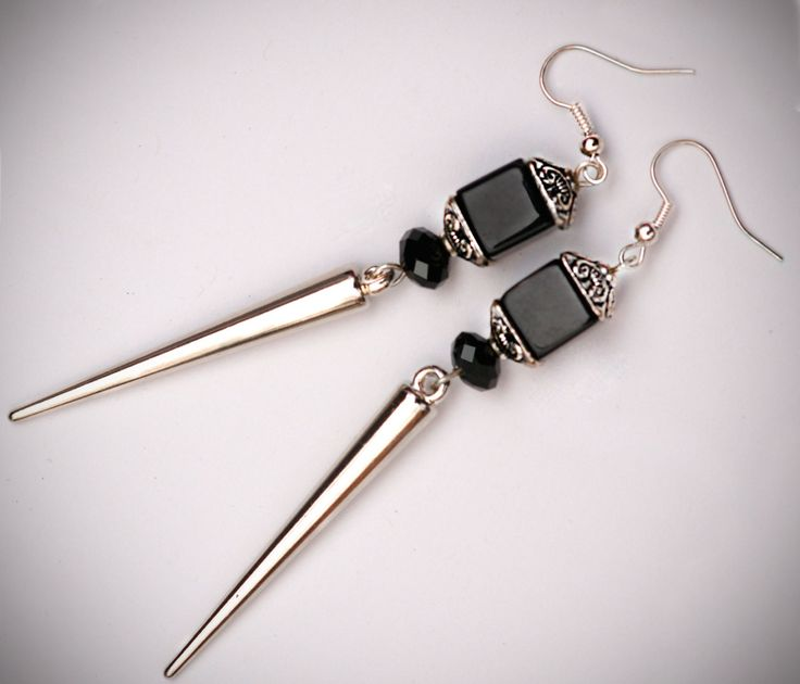 Goth Earrings, Spike Earrings, Black Cube Earrings, Spikes, Pagoda, Silver, Gothic Jewelry, Boho, Geo, Fashion Jewelry. $14.50, via Etsy.