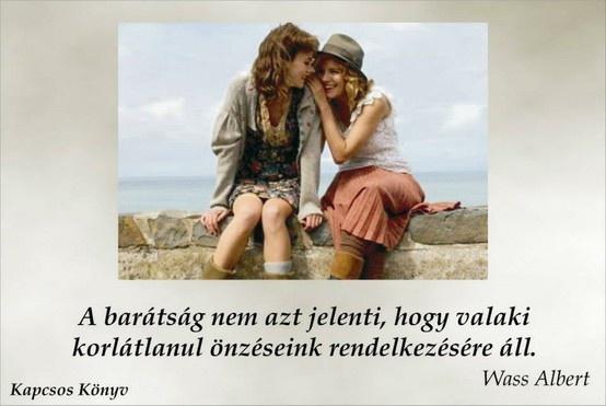 Wass Albert idézete a barátságról. A kép forrása: Kapcsos könyv