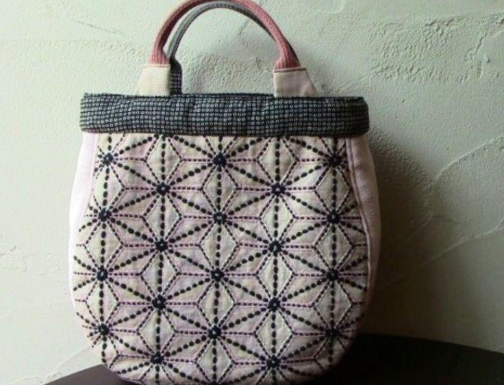 Sashiko hemp leaf pattern tote bag- dark grey thread on white fabric, lovely.