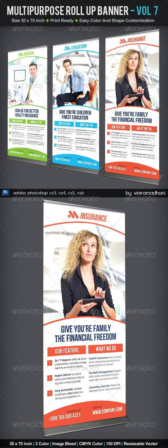 Multipurpose Roll Up Banner | Volume 7 — Photoshop PSD #banner #creative • Available here → https://graphicriver.net/item/multipurpose-roll-up-banner-volume-7/6056591?ref=pxcr