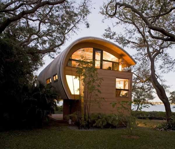 Home Design Ideas Construction: Organic Design Ideas, Guest House Design With Curved Wood