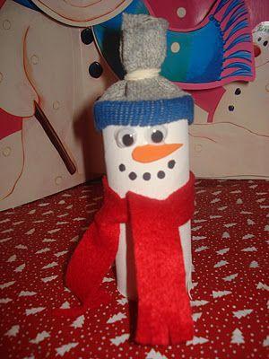 Toilet paper roll #snowman #kids #Christmas craft