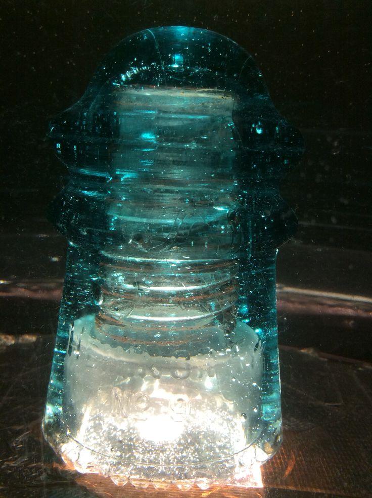 This is my cd 106 Hemingray 9 glass insulator in Hemingray Blue. It is a fairly uncommon insulator.  #underwaterinsulators