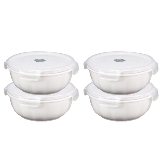 Special Deal - Silby Ceramic Round Container 8-Piece/4-Container Set (Wave Body) from Lock & Lock