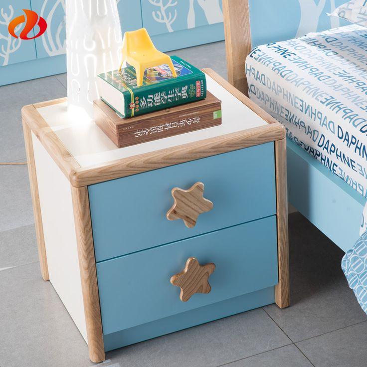 Маленькая детская тумба из мдф с голубыми ящиками и двумя ручками в форме звезд купить в интернет-магазине https://lafred.ru/catalog/catalog/detail/44880143264/