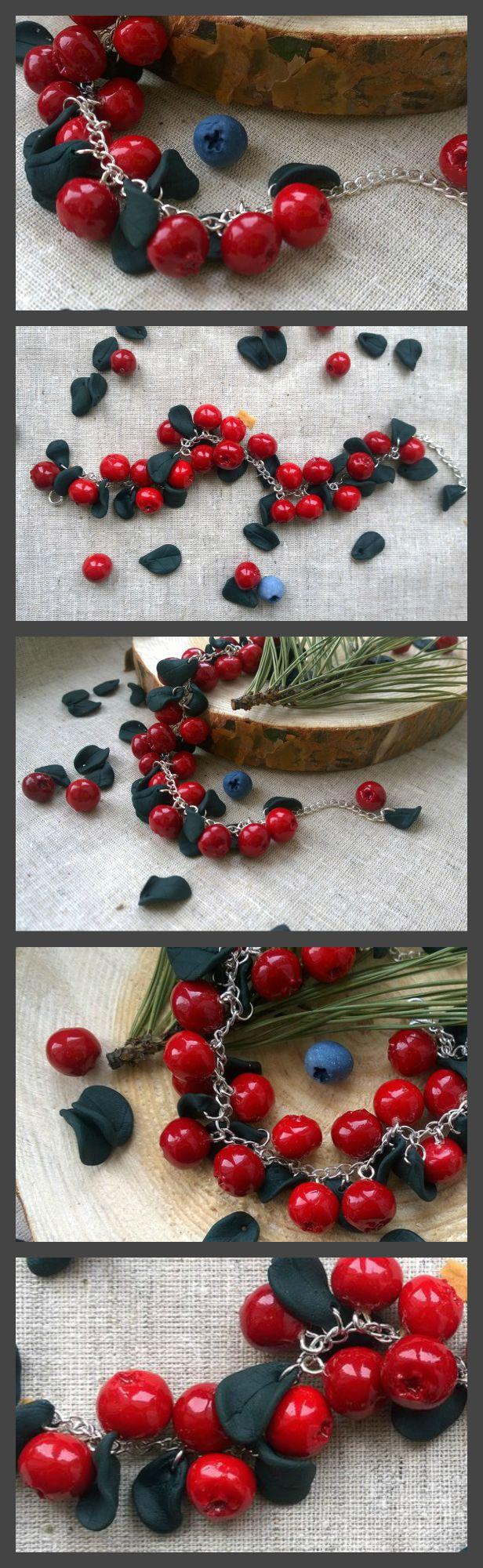 #red #bracelet #berries #berry #cranberry #polymerclay #fimo #sculpey #miniature #art #pine #wood #follow #handmade #craft #etsy #etsyhandmade #instahandmade #forest #fashion #jewelry #summer #earrings