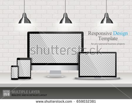 Realistic Computer, Laptop, Tablet and Mobile Phone with Transparent or Blank Wallpaper Screen Isolated on Vintage Brick Wall. Set of Device Mockup Separate Groups and Layers. Easily Editable Vector.