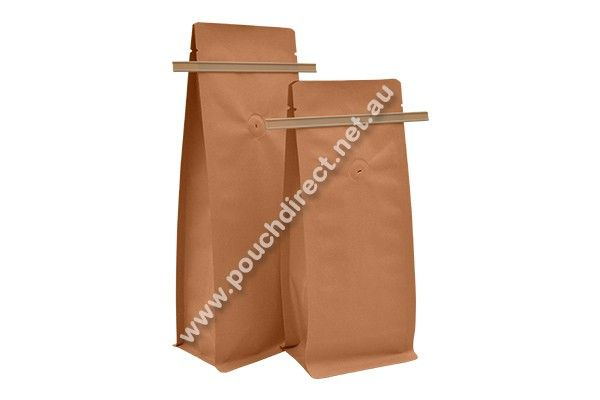 KRAFT PAPER - FLAT BOTTOM WITH TIN TIE COFFEE BAGS & VALVE