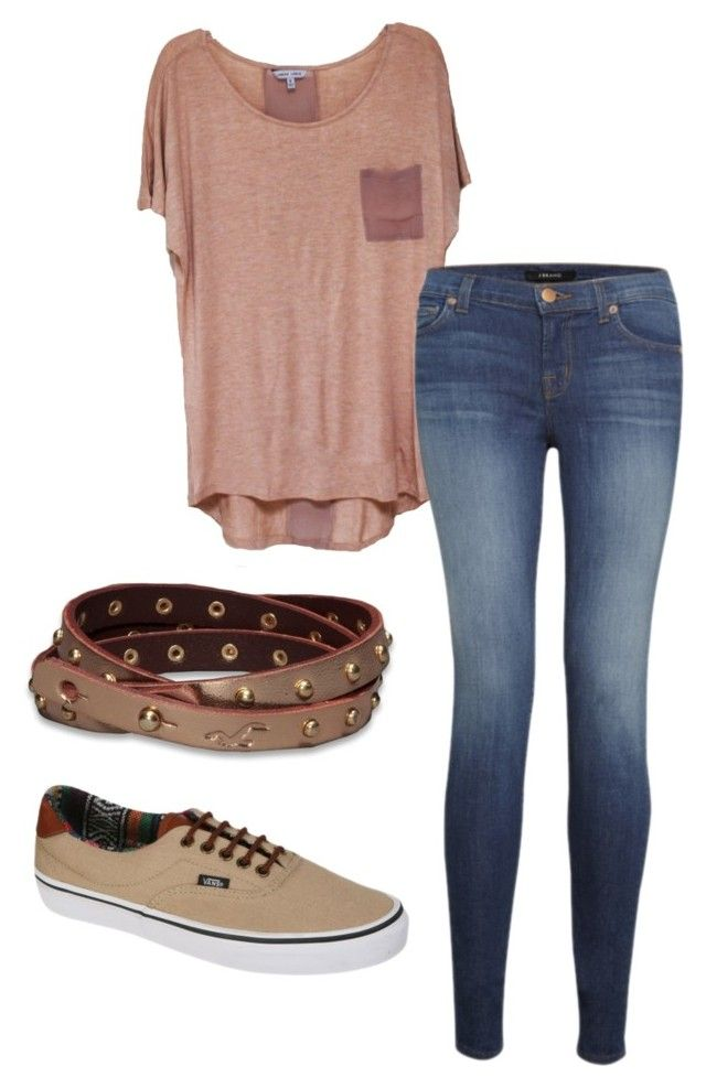 """...."" by veramalik ❤ liked on Polyvore featuring J Brand, Vans and Hollister Co."