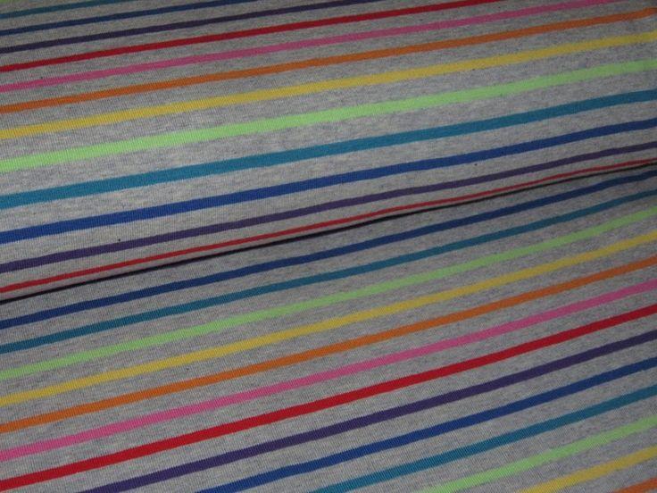 Jersey+Regenbogen+Streifen+auf+grau+meliert+995002+von+Nordlicht-Stoffe+auf+DaWanda.com