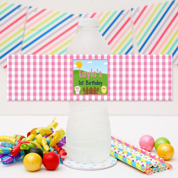 Pink Barnyard Drink Labels | Personalised Farm Party Water Bottle Labels for your Girl's Farm or Barnyard Birthday Party.  Visit website to see details and for more matching Farm Party Printables from Print & Party