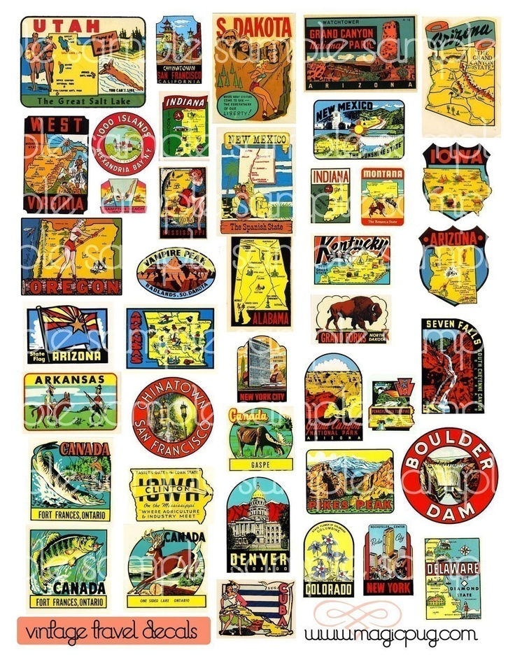 Vintage Travel Decals Digital Collage Sheet US and Canada midcentury 1950's and 1960's graphics from all over the USA and Canada. $3.50, via Etsy.