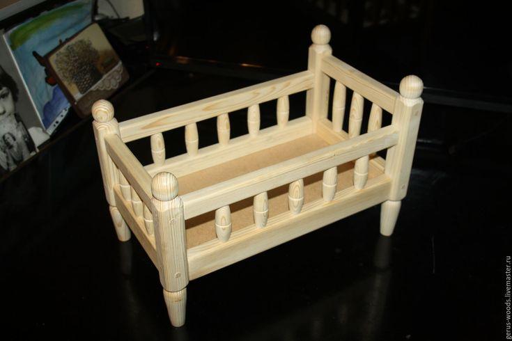 Купить Кроватка кукольная деревянная со спинкой - кроватка, кроватка для куклы, кукольная кроватка