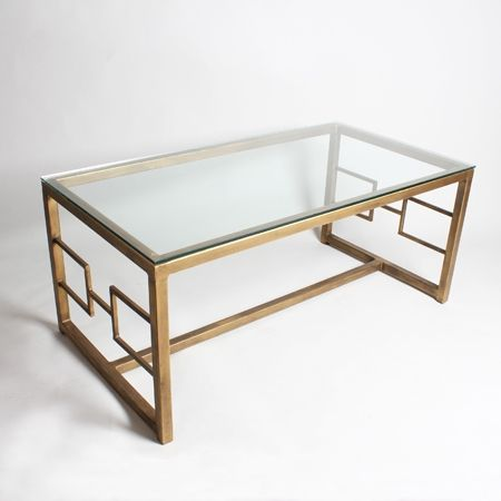 Gilt Metal Coffee Table With Glass Top By Birgit Israel