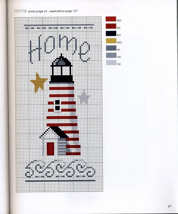 Cross stitch lighthouse (not a direct link, link not in English).