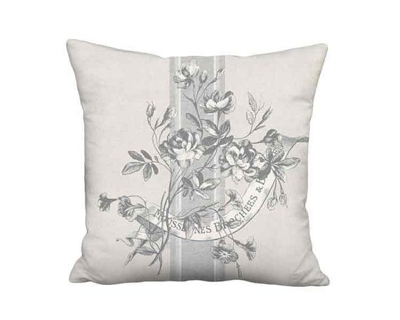Cabbage Rose Brocade Grey French Country Grain Sack Style Pillow Cover - 12x 14x 16x 18x 20x 22x 24x 26x 28x Inch Neutral Cushion Cover