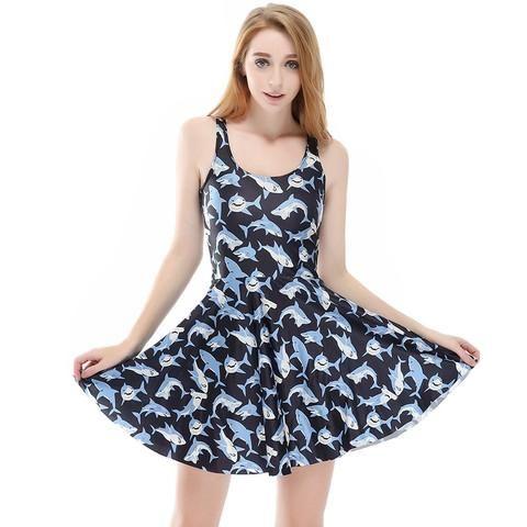 3D Print White Shark Party Plus Size Vintage Harajuku Sexy Dress for Women! #shark #plussize #vintage #clothing