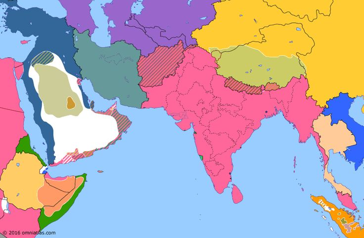Political map of South Asia 15 Jan 1902 (Saudi Restoration): By the early 1890s, the Emirate of Ha'il (Jebel Shammar) had risen to dominate the Arabian interior, conquering the rival Emirate of Nejd and forcing its Saudi rulers to flee to Kuwait (Battle of Mulayda). However, local discontent with Ha'il gradually grew and in 1901 the House of Saud returned, recapturing Riyadh the following year (Battle of Riyadh (1902)).