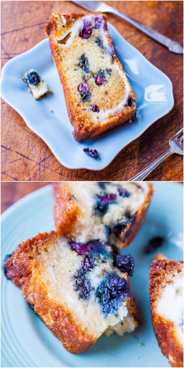 Blueberry and Cream Cheese Muffin Top Bread - A whole loaf of bread that tastes like one big muffin top! Supremely soft & moist from all the blueberries & cream cheese swirls!