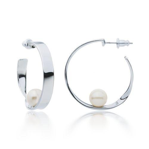 Luna White Pearl Hoop Earrings