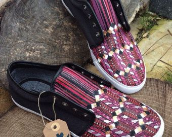 These plimsolls come in a aztec print design which has been hand dyed and painted. If you would like these or something similar in a different colour perhaps dont hesitate on contacting me and we can discuss other options. Women and childrens sizes are also available on request.  Shoes come in UK sizes. Returns not accepted for inaccurate sizing so make sure you order the right size using the sizing chart. Sizing Chart:  Womens Shoe Sizes UK/Ireland 2 3 4 5 6 7 8 9 US 3.5 4.5 5.5 6.5 7.5 8.5…