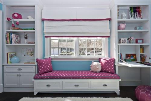 pink and aqua: Idea, Built In, Plays Rooms, Girls Bedrooms, Desks, Window Seats, Girls Rooms, Kids Design, Kids Rooms