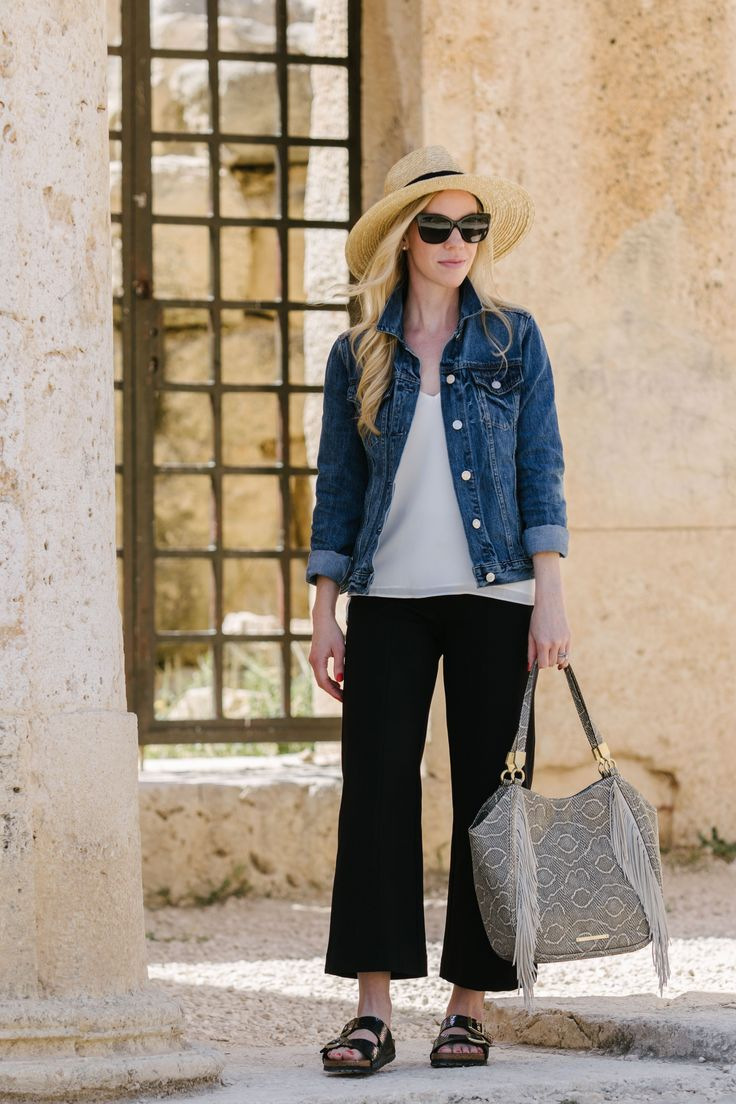 Day Trip from Amman to Iraq Al Amir: GAP denim jacket with cropped wide leg pants, Brixton 'Joanna' panama hat, Birkenstock sandals, @brahmin 'Marianna' fringe tote, casual outfit with denim jacket and cropped pants, denim jacket travel outfit idea