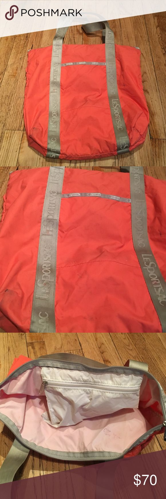 LeSportSac nylon pink / orange tote Pink/orange (sherbet) Le Sportsac tote bag. Works well, mild stains from wear. LeSportsac Bags Totes