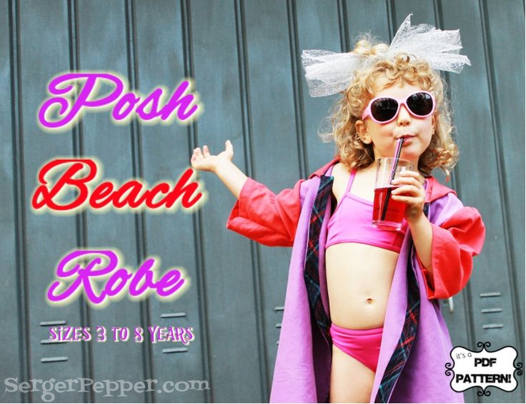 Serger Pepper Designs - Posh Beach Robe is a FREE PDF sewing pattern and photo tutorial for creating the fanciest and perfectly finished swimming robe you've ever done... and it's free (pattern and fabric, if you choose to refashion like I did!). Learn some new finishing techniques and stretch out your sewing skills!