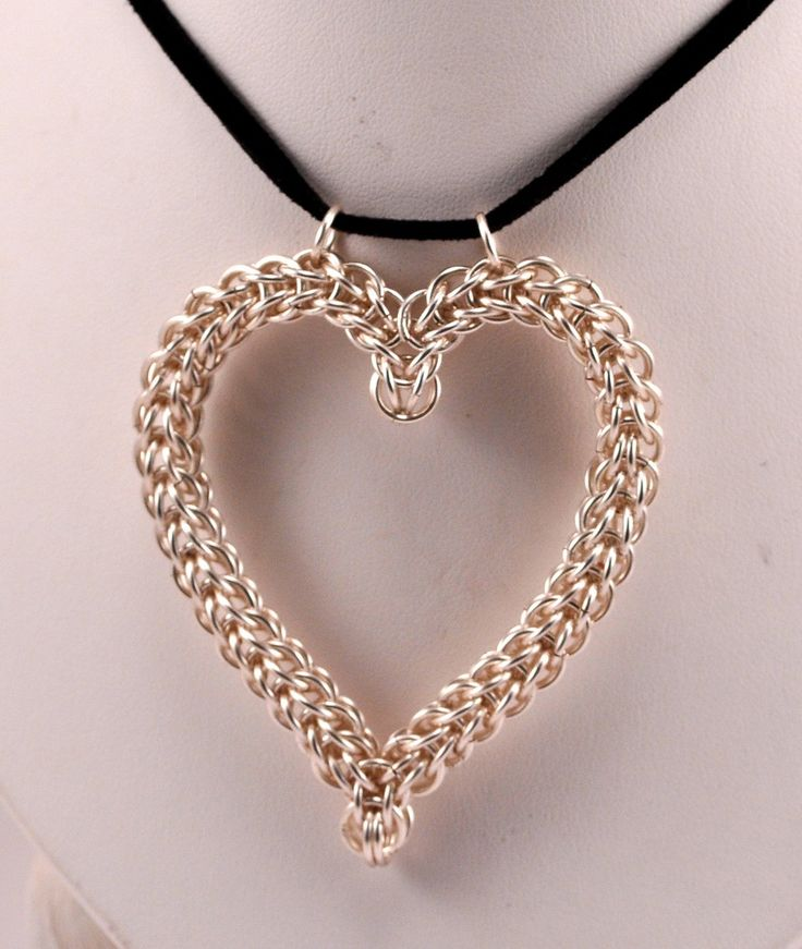 Chainmaille Heart Pendant by TheAlaskanMailleMan on Etsy, $35.00