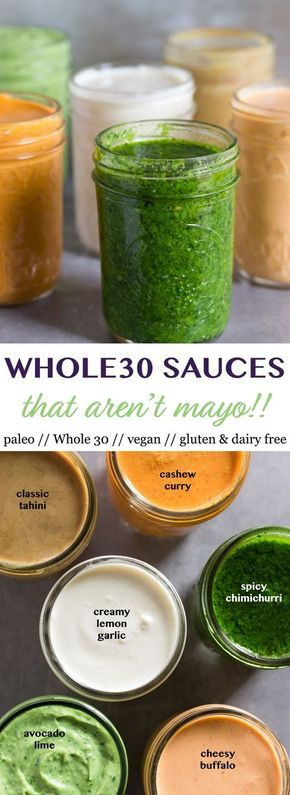 6 Whole30 Sauces that Aren't Mayo that you need in your life! From chimichurri, to creamy lemon garlic, avocado lime, and more, these sauces will add a boost of flavor to meal prep or any Whole30, vegan, paleo, and gluten free meal! - Eat the Gains #mealprep #Whole30 #vegan #paleo