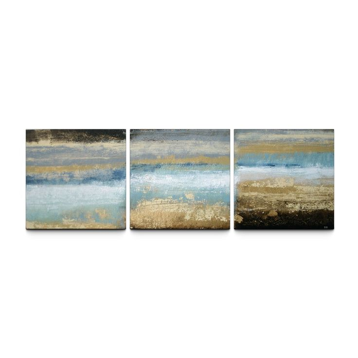 'Rising Tide' 24x72 Textured Canvas Print Triptych - Free Shipping Today - Overstock.com - 16123054 - Mobile