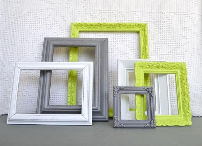 Lime Green, Grey White Ornate Frames Set of 6 - Upcycled Frames Modern  Bedroom Decor. $48.00, via Etsy.