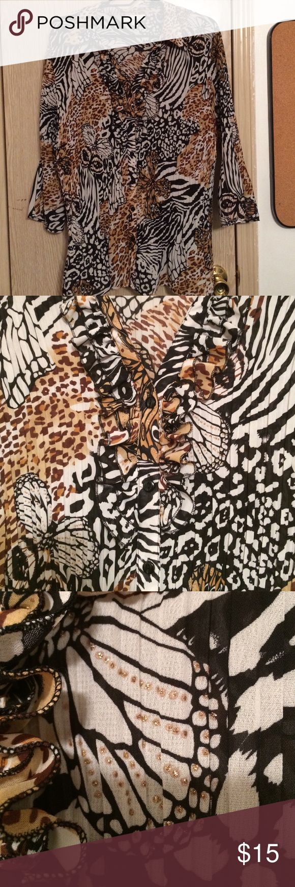 Animal Print blouse gold sparkly accents Gold accents,frill cheat animal print Dress Barn Tops Blouses