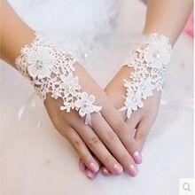 nieuwe mode witte ivoor bruids kant vrouwen lovertjes appliques vingerloze handschoenen one size pols bruiloft accessoires 0306(China (Mainland))