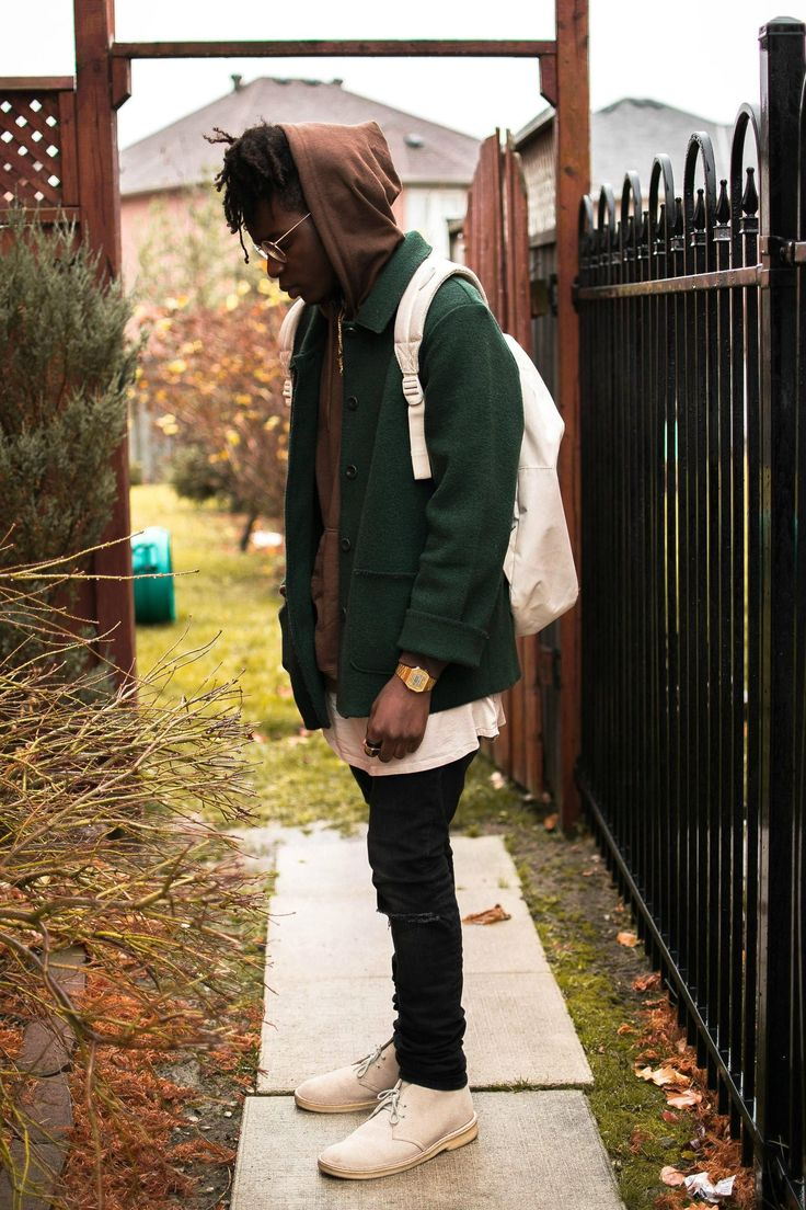 Fit Break Down: Brown Plain Hoodie: Fruit of the Loom ($11 at Winners) Forest Green Jacket: Not sure the brand ($22 Thrifted from https://www.instagram.com/bypseudonym) Off White Extended T: H&M ($12) Ripped Jeans: H&M ($25) Clarks: ($15 at Winners) Extras: Watch-Gold Casio Rings-Brother gave them to me lol Glasses- Ray-Ban Round Metal Sunglasses (Prescription) Bag: Hershel Off White Bag ($30 on sale @ Si Vous Play- Sports Store in Canada)