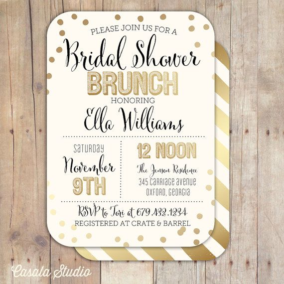 Gold Confetti Bridal Shower Baby Shower Invitation Bridal Shower Printable Invitation OR Printed Card