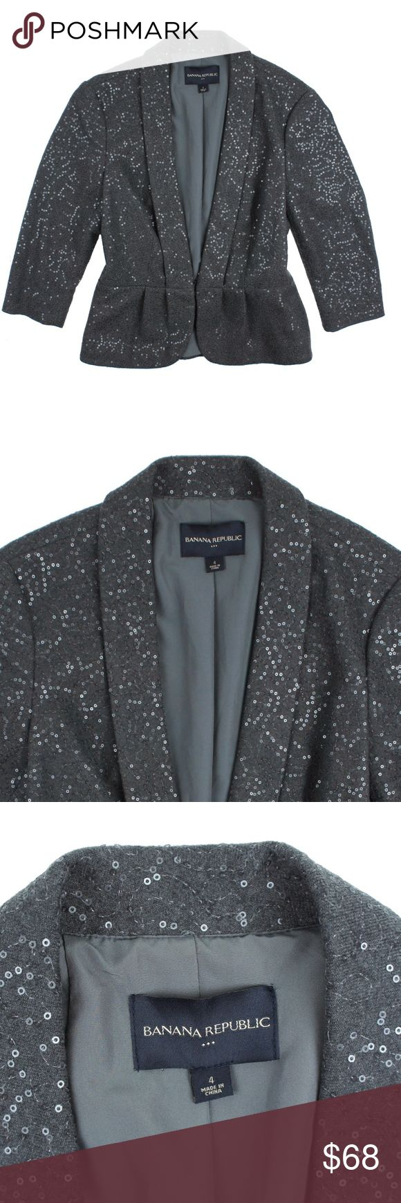 """New BANANA REPUBLIC Gray Sequin Peplum Jacket Size - 4  NWOT. This new dark gray sequin jacket from BANANA REPUBLIC features sequins throughout, a hook and bar closure, 3/4 length sleeves and a peplum style. Fully lined. Made of poly/rayon/lycra  Measures: Bust: 37"""" Total Length: 22.5"""" Sleeves: 17"""" Banana Republic Jackets & Coats"""