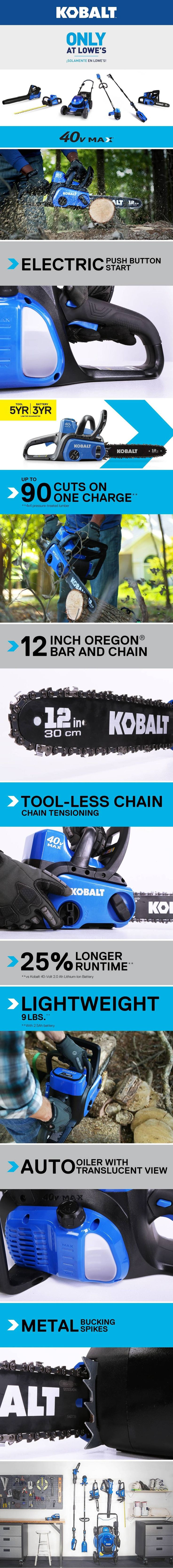 Shop Kobalt 40-volt Max Lithium Ion 12-in Cordless Electric Chainsaw (Battery Not Included) at Lowes.com