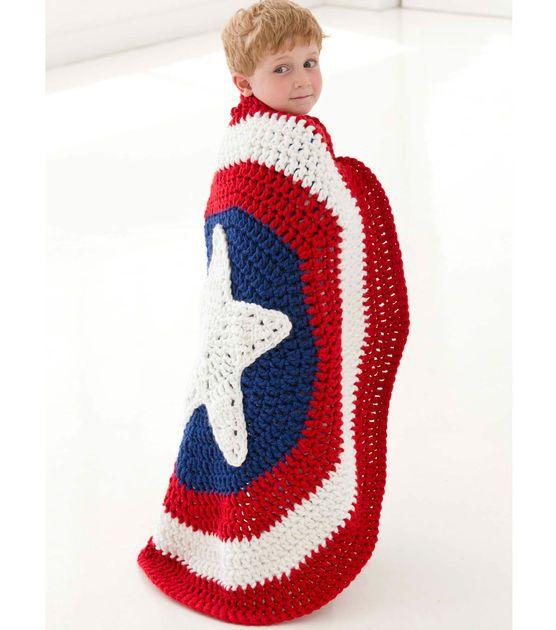Free Crochet Pattern For Captain America Blanket : Little Super Hero Blanket Crochet with Jo-Ann ...