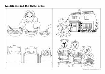 Goldilocks and the Three Bears story sequencing sheets.