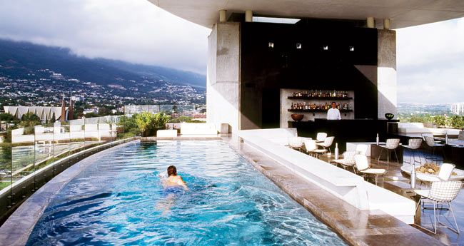 One of the two rooftop infinity pools at Hotel Habita Monterrey, Mexico.